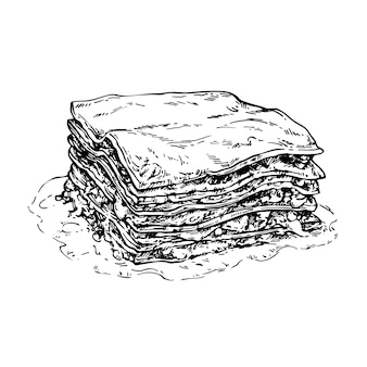 Hand drawn skecth lasagna ink illustration of traditional italian food piece of lasagna