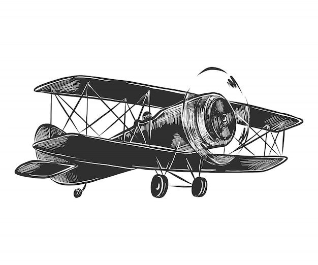 Hand drawn sketch of airplane in monochrome