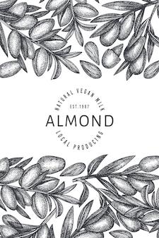 손으로 그린 된 스케치 아몬드 디자인 서식 파일입니다. 유기농 식품 그림입니다.