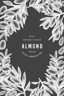 Hand drawn sketch almond label template