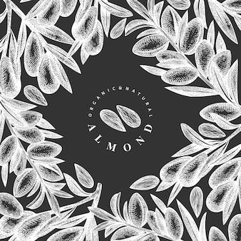 손으로 그린 된 스케치 아몬드 템플릿입니다. 분필 보드에 유기농 식품 그림입니다. 빈티지 너트 그림입니다. 새겨진 스타일 식물 배경.