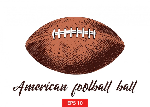 Hand drawn sketch of american football ball