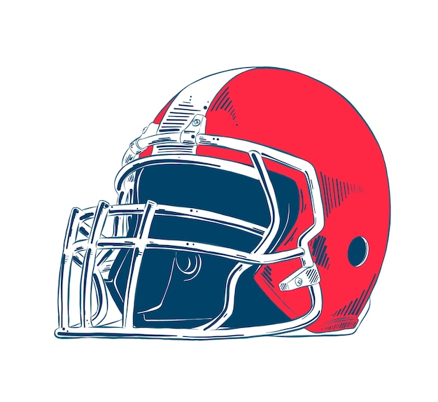 Hand drawn sketch of american football helmet