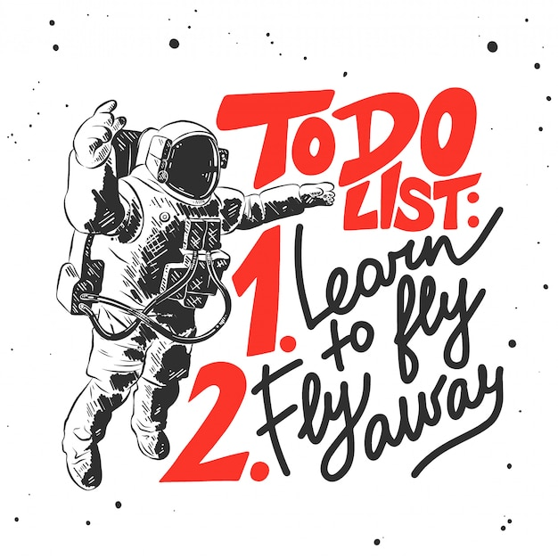 Hand drawn sketch of astronaut with lettering