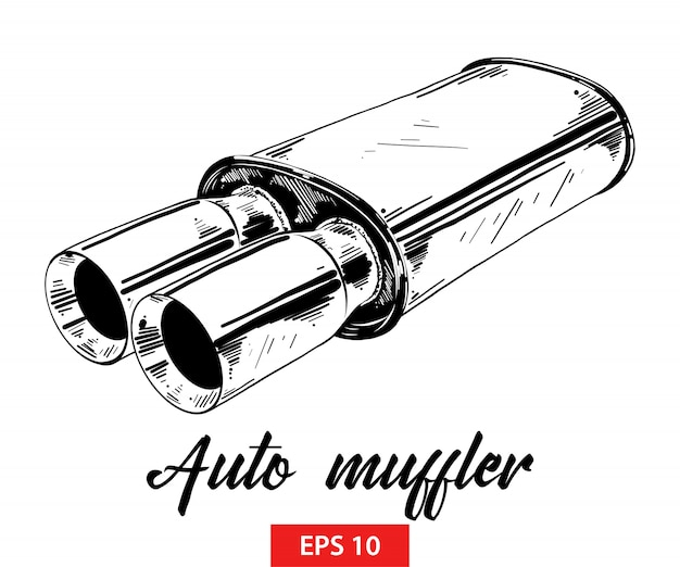 Hand drawn sketch of auto muffler