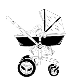 Hand drawn sketch of baby carriage in black