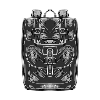 Hand drawn sketch of bag pack in monochrome