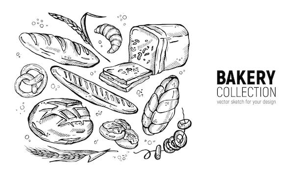 손으로 그린 스케치 빵집 컬렉션