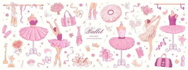 Hand drawn sketch ballet set
