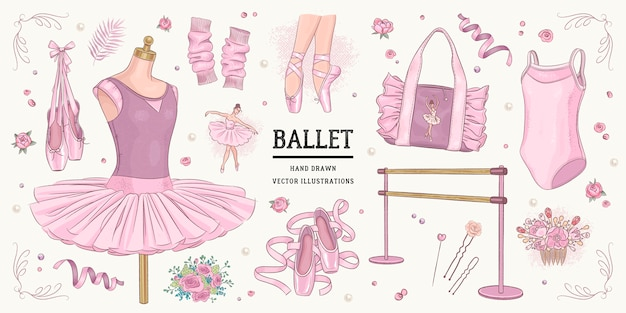 Hand drawn sketch ballet set