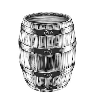 Hand drawn sketch of barrel of wine