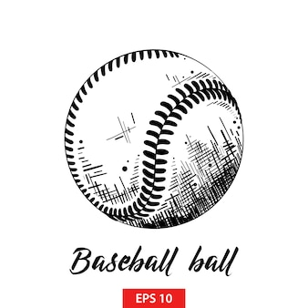 Hand drawn sketch of baseball or softball ball