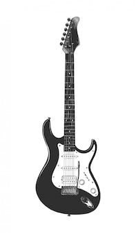 Hand drawn sketch of bass guitar in monochrome