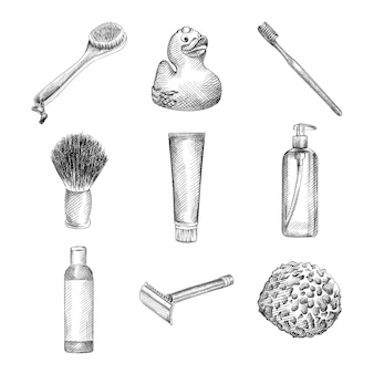 Hand-drawn sketch of bathing tools. the set consists of a toothbrush, toothpaste, shaving brush, soap, shower gel and shampoo tubes, rubber duck, washcloth for a shower, back scrubber