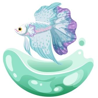 手描きスケッチベタ魚、カラフルな派手なファンテイル魚。水族館の魚。図。