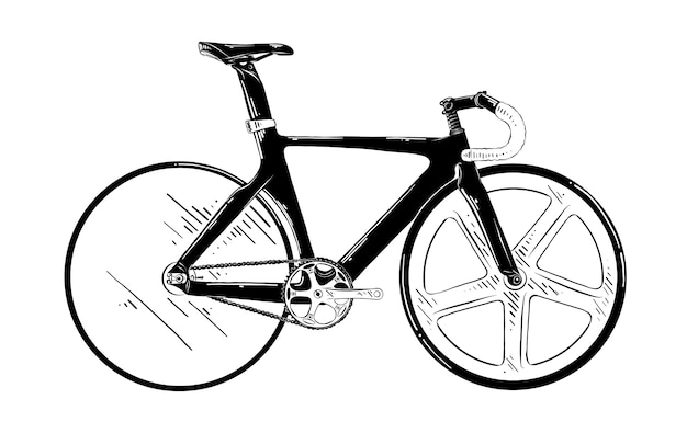Hand drawn sketch of bicycle in black