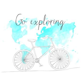 손으로 그린 스케치 자전거는 세계 지도 배경에 있고 텍스트는 탐험을 갑니다. 벡터 일러스트 레이 션.