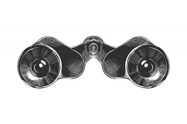 Hand drawn sketch of binoculars in monochrome