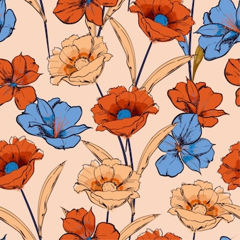 Hand drawn sketch blooming flowers in the garden floral repeat seamless pattern in vector design