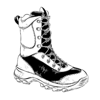 Hand drawn sketch of boot in black isolated . detailed vintage style drawing. Premium Vector