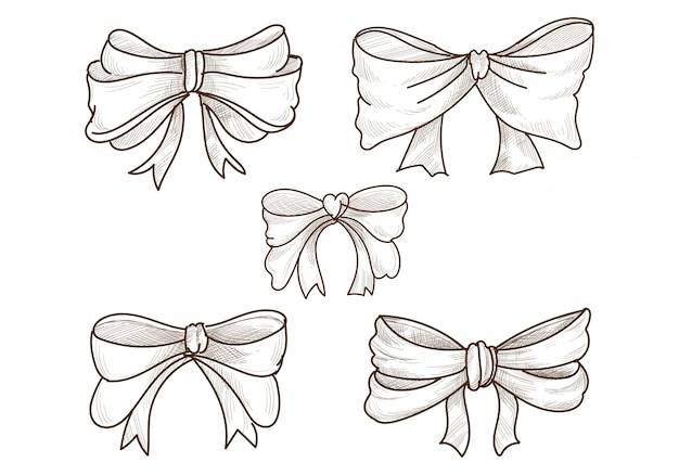 Hand drawn sketch bows set design