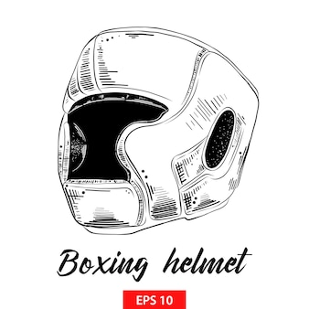 Hand drawn sketch of boxing helmet in black