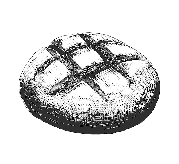 Hand drawn sketch of bread loaf in monochrome