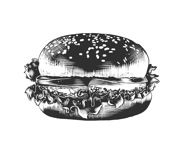Hand drawn sketch of burger in monochrome