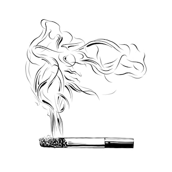 Hand drawn sketch of burning cigarette in black