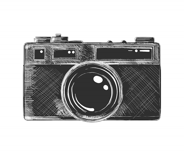 Hand drawn sketch of camera in monochrome