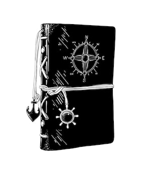 Hand drawn sketch of captain's diary in black