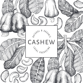 Hand drawn sketch cashew banner template