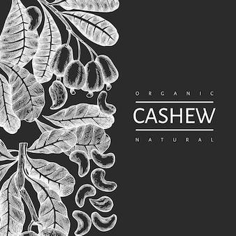 Hand drawn sketch cashew design template. organic food  illustration on chalk board.