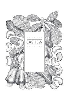 手描きスケッチカシューデザインテンプレート。白い背景の上の有機食品のイラスト。