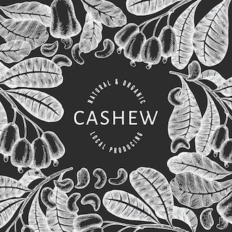 Hand drawn sketch cashew design template.
