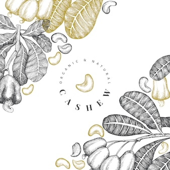 Hand drawn sketch cashew design vintage nut illustration.