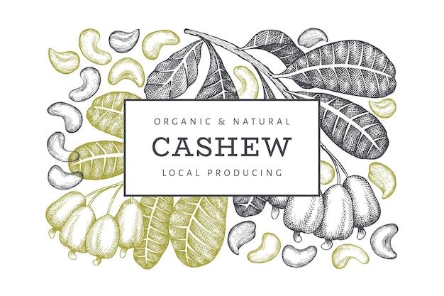 Hand drawn sketch cashew label