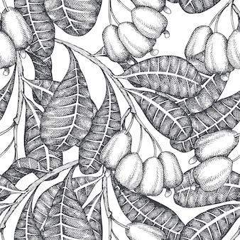 手描きのスケッチカシューシームレスパターン。白い背景の上の有機食品のイラスト。ビンテージナットの図。