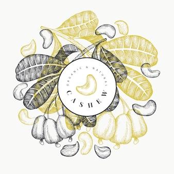 손으로 그린 스케치 캐슈 템플릿입니다. 흰색 배경에 유기농 식품 그림입니다. 빈티지 너트 그림입니다. 새겨진 스타일 식물 배경.