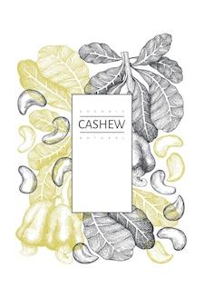 手描きスケッチカシューテンプレート。白い背景の上の有機食品のイラスト。ヴィンテージナッツのイラスト。刻まれたスタイルの植物の背景。
