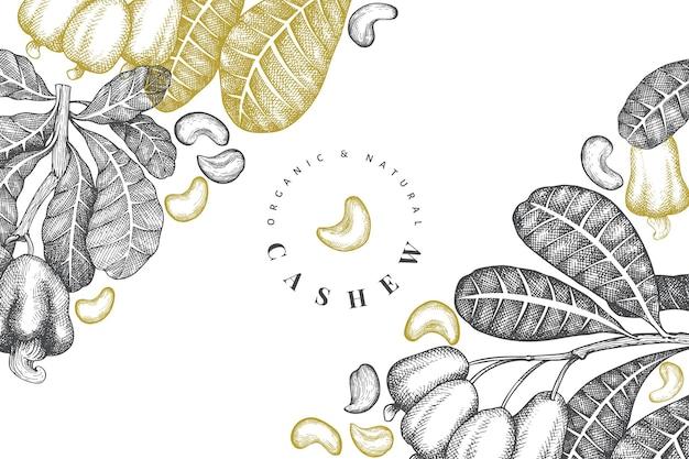 Ручной обращается эскиз кешью шаблон. иллюстрация органических продуктов питания на белом фоне.