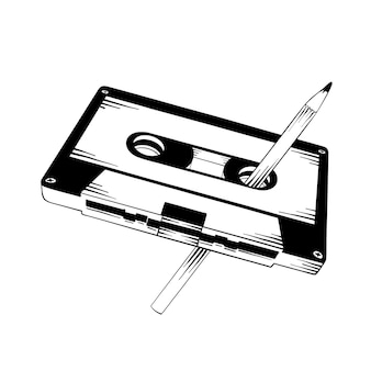 Hand drawn sketch of cassette with pencil
