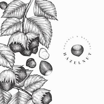 손으로 그린 된 스케치 밤나무 디자인 서식 파일입니다. 빈티지 너트 그림입니다. 새겨진 스타일 식물 배경.