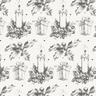 Hand-drawn sketch christmas pattern new year gift