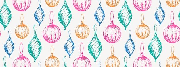 Рисованный эскиз рождественский узор новый год подарок