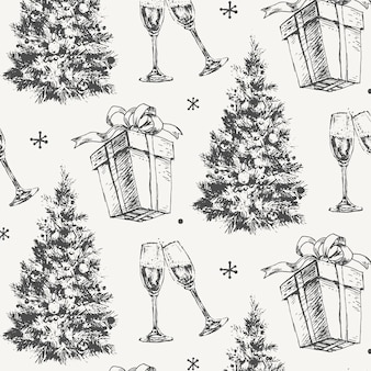 손으로 그린 스케치 크리스마스 패턴 새해 선물