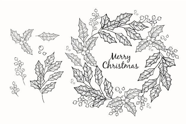 Hand drawn sketch christmas wreath