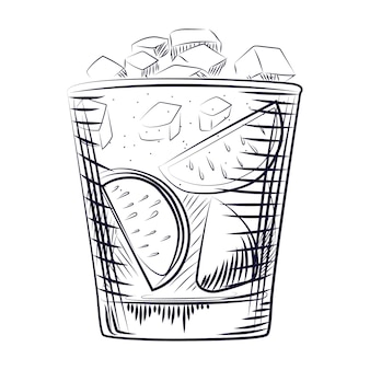 Hand drawn sketch cocktail. alcohol drink coctail.