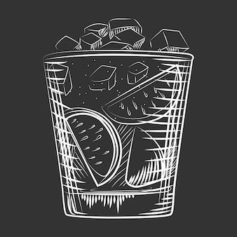 손으로 그린 스케치 칵테일. 알코올 음료 럼 칵테일 배경입니다.