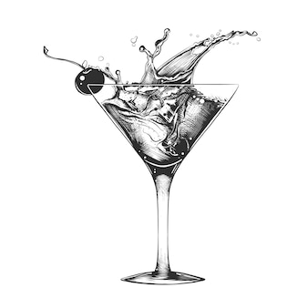 Hand drawn sketch of cocktail with splashes